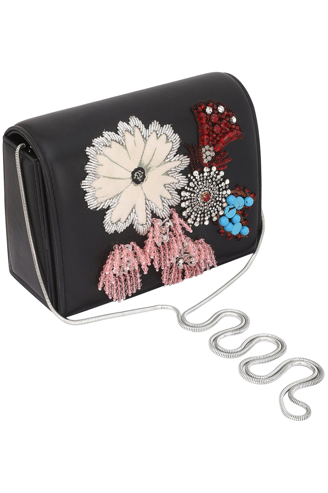 bc75b9ec62 ... Studio Accessories Black base Multicolor floral Hand beaded leather clutch  bag ...