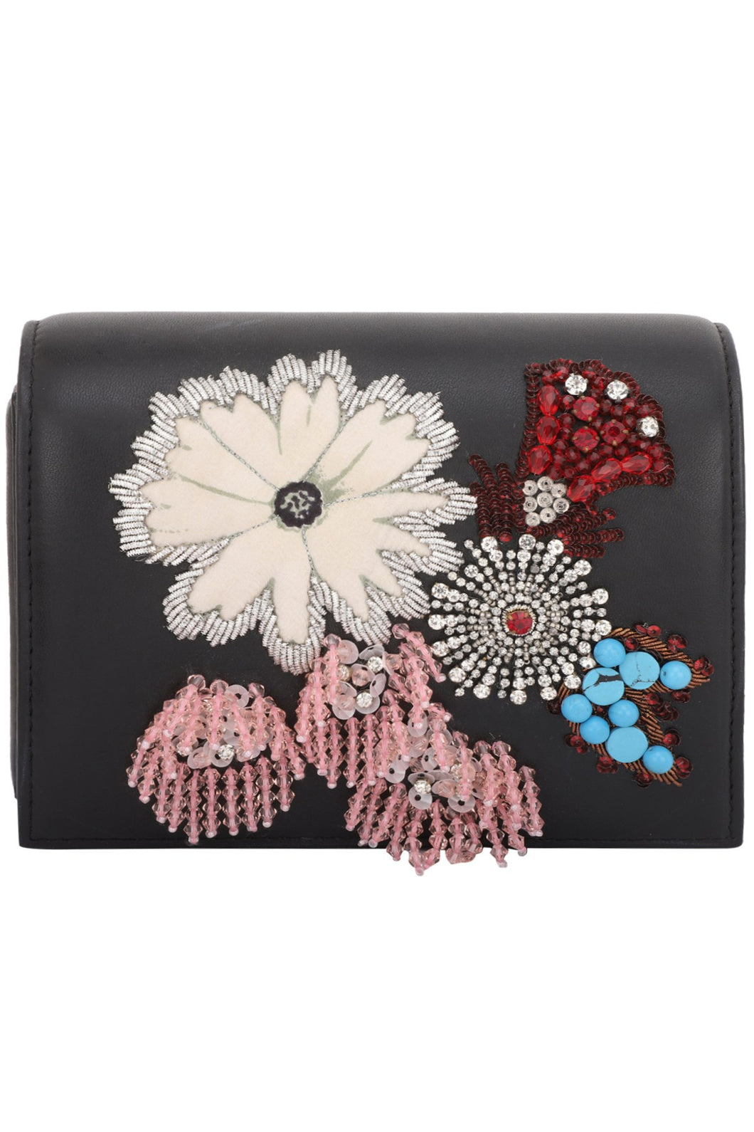30606aa939 Studio Accessories Black base Multicolor floral Hand beaded leather clutch  bag
