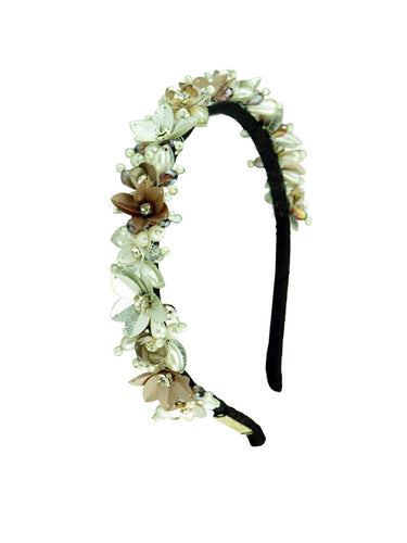 STUDIO ACCESSORIES White and Gold Sequins and Crystal Embellished Floral Woven Hairband