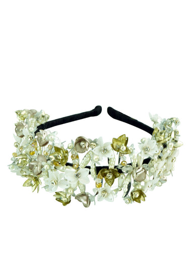 STUDIO ACCESSORIES White Sequins and Crystal Embellished Floral Woven Hairband