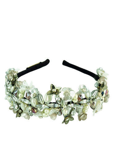 STUDIO ACCESSORIES White and Silver Sequins and Crystal Embellished Floral Woven Hairband