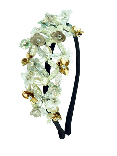 STUDIO ACCESSORIES Silver white and gold Sequins and Crystal Embellished Floral Woven Hairband