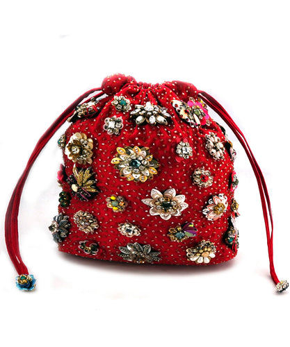 STUDIO ACCESSORIES Velvet Red Crystal and Sequinned Flowers Embellished Potli Bag