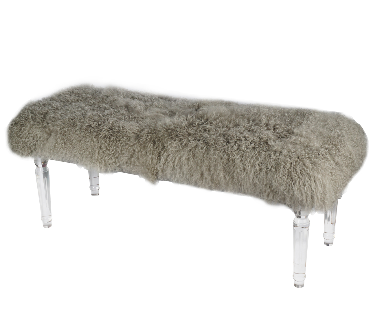 Mongolian Fur Bench | Gray - Mongolian Fur Bench Gray - The Mod Gallery