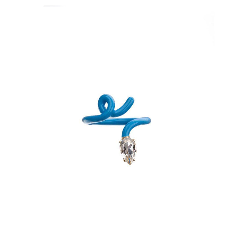 Baby Vine Tendril Ring in Turquoise Enamel