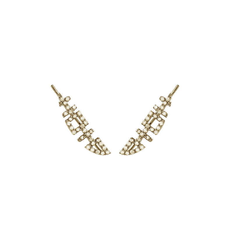 HAPPINESS Crawler Earrings with Diamonds