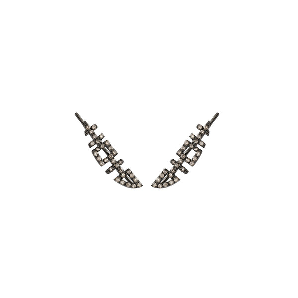 HAPPINESS Black Crawler Earrings with Diamonds