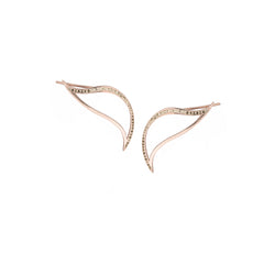 Crawler Leaf Heliconia Earrings with Diamonds