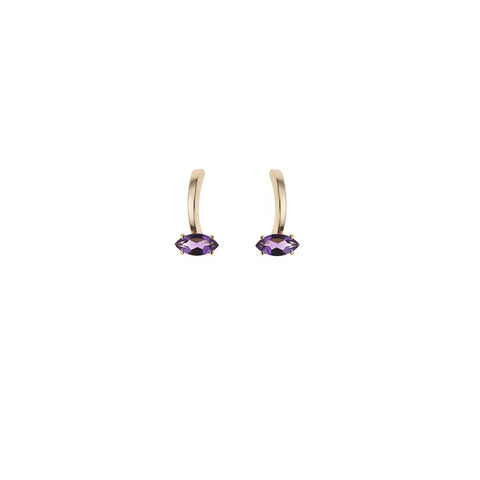Amethyst Gloriosa Lily Yellow Gold Small Earrings