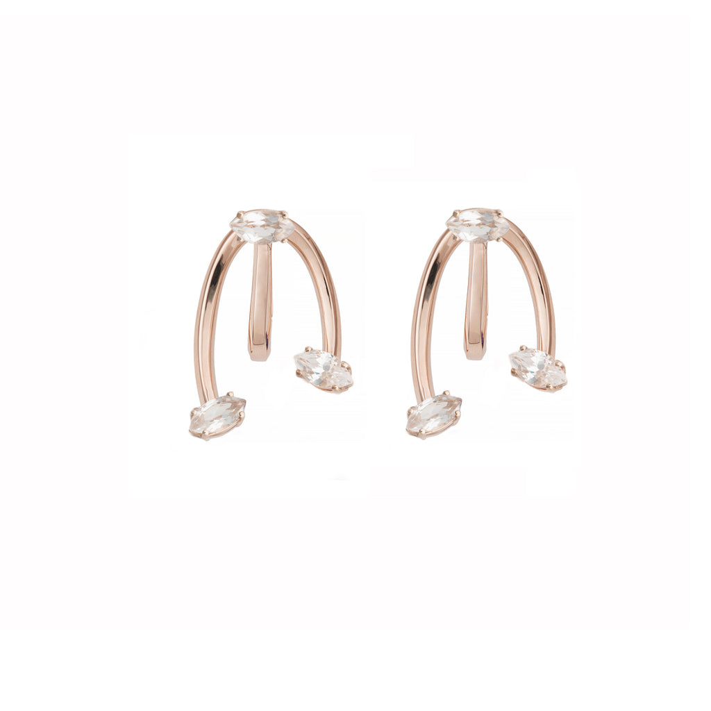 Rock Crystal Honeysuckle Yellow Gold Earrings