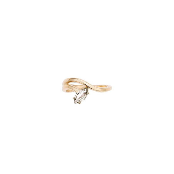 Morning Star Lily Ring with Rock Crystal in Yellow Gold