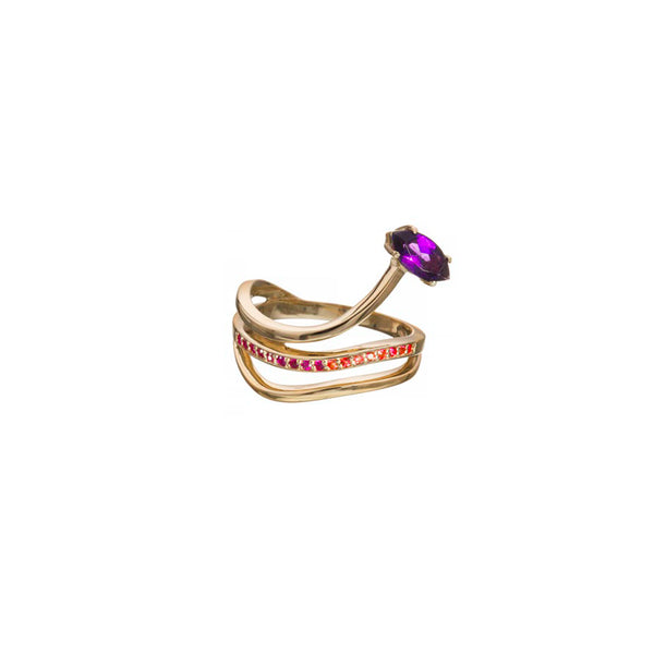 Gloriosa Lily Ring with Amethyst