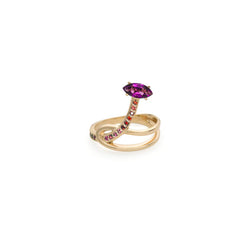 GLORIOSA LILY KNOT RING WITH AMETHYST