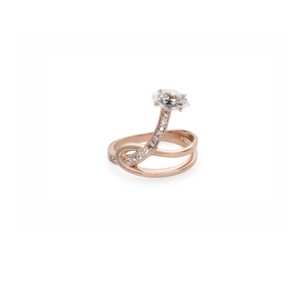 Rock Crystal Gloriosa Lily Rose Gold Knot Ring with Diamonds