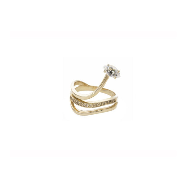 Gloriosa Yellow Gold  Lily Ring with Diamonds