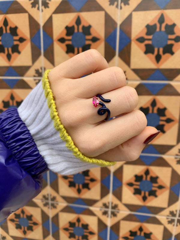 Baby Vine Tendril Ring in Navy Enamel