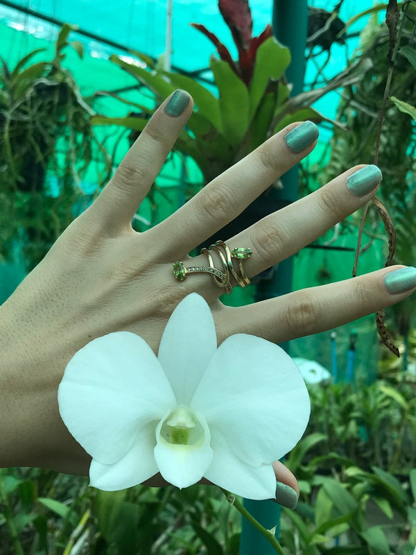 Morning Star Lily Ring with Peridot