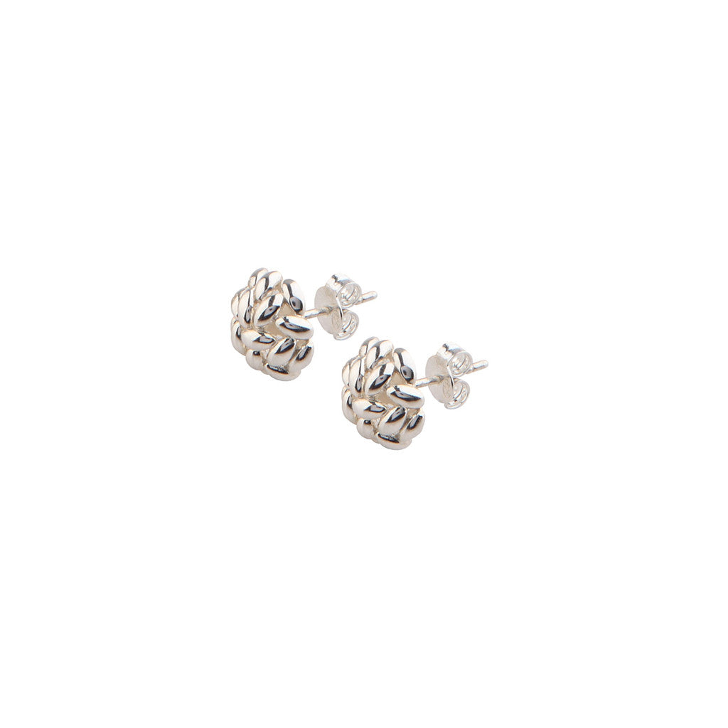 Silver Half Rice Ball Earrings