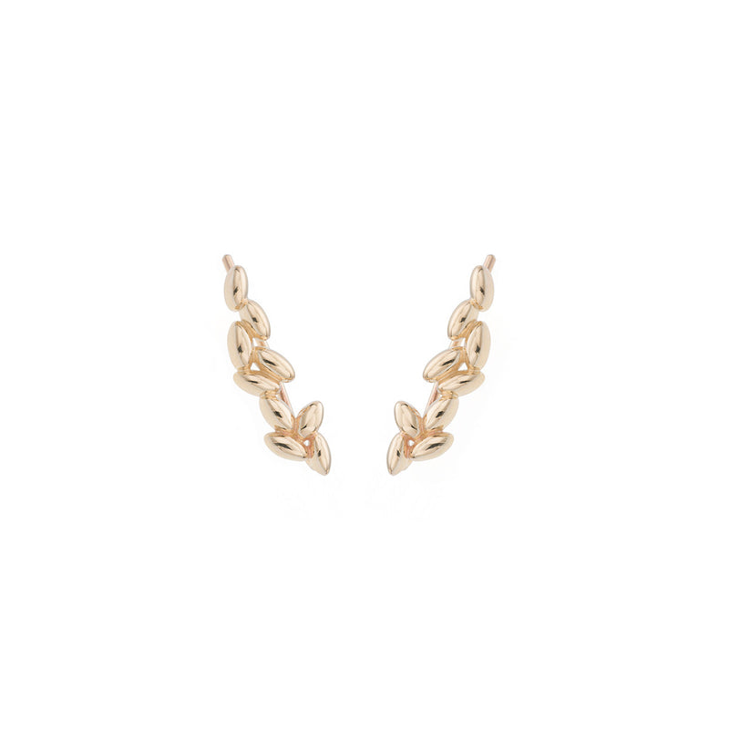Rice Grain Earrings in Yellow Gold