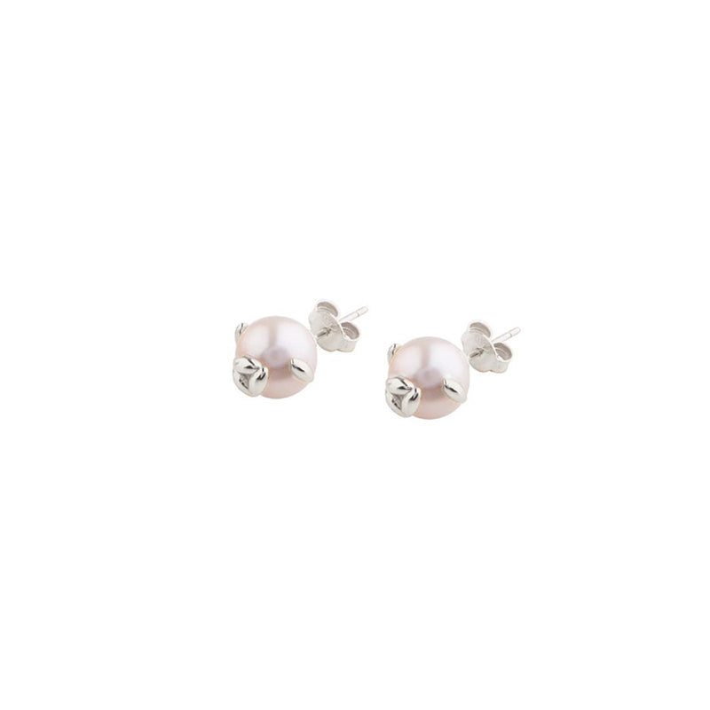 Silver Pearl Rice Earrings