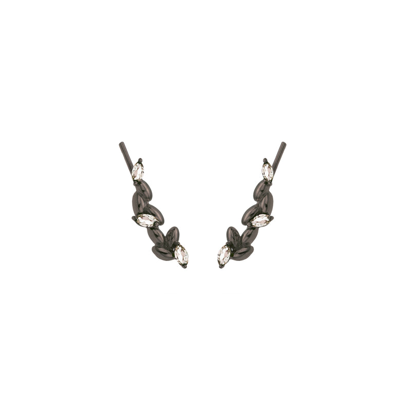 Rice Grain Earrings in Silver Black with Rock Crystal