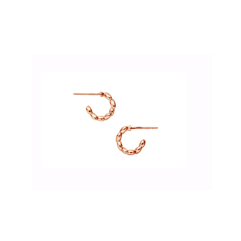 Silver Rose Gold Plated Small Rice Hoop Earrings