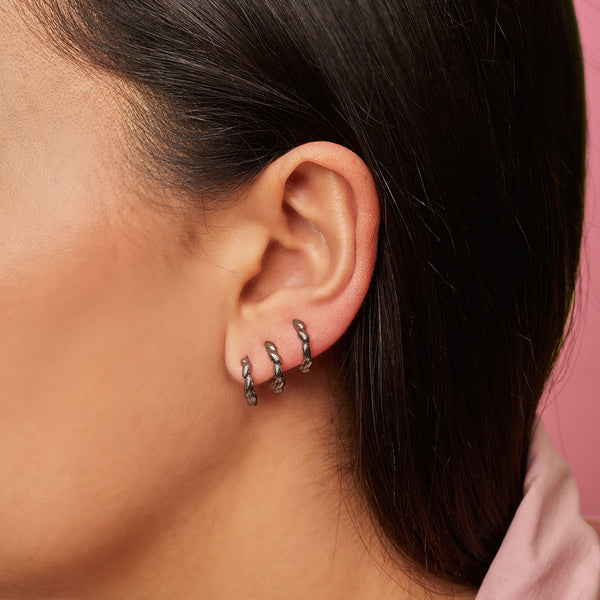 Silver Black Plated Multi Spiral Single Earring