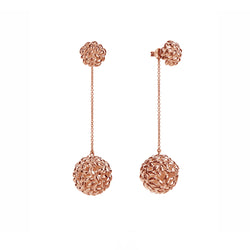 Silver Rose Gold Plated Rice Ball Chain Earrings