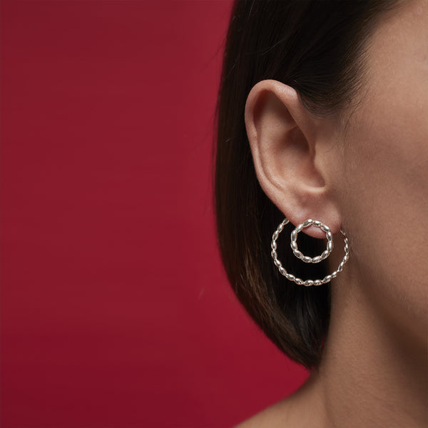 Double Silver Circle Rice Earrings