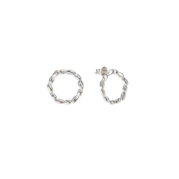 Silver Circle Rice Earrings