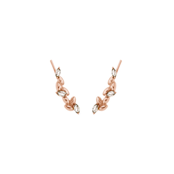 Rice Grain Earrings in Silver Rose Gold with Rock Crystal