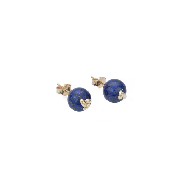 Gold Lapis Rice Stud Earrings