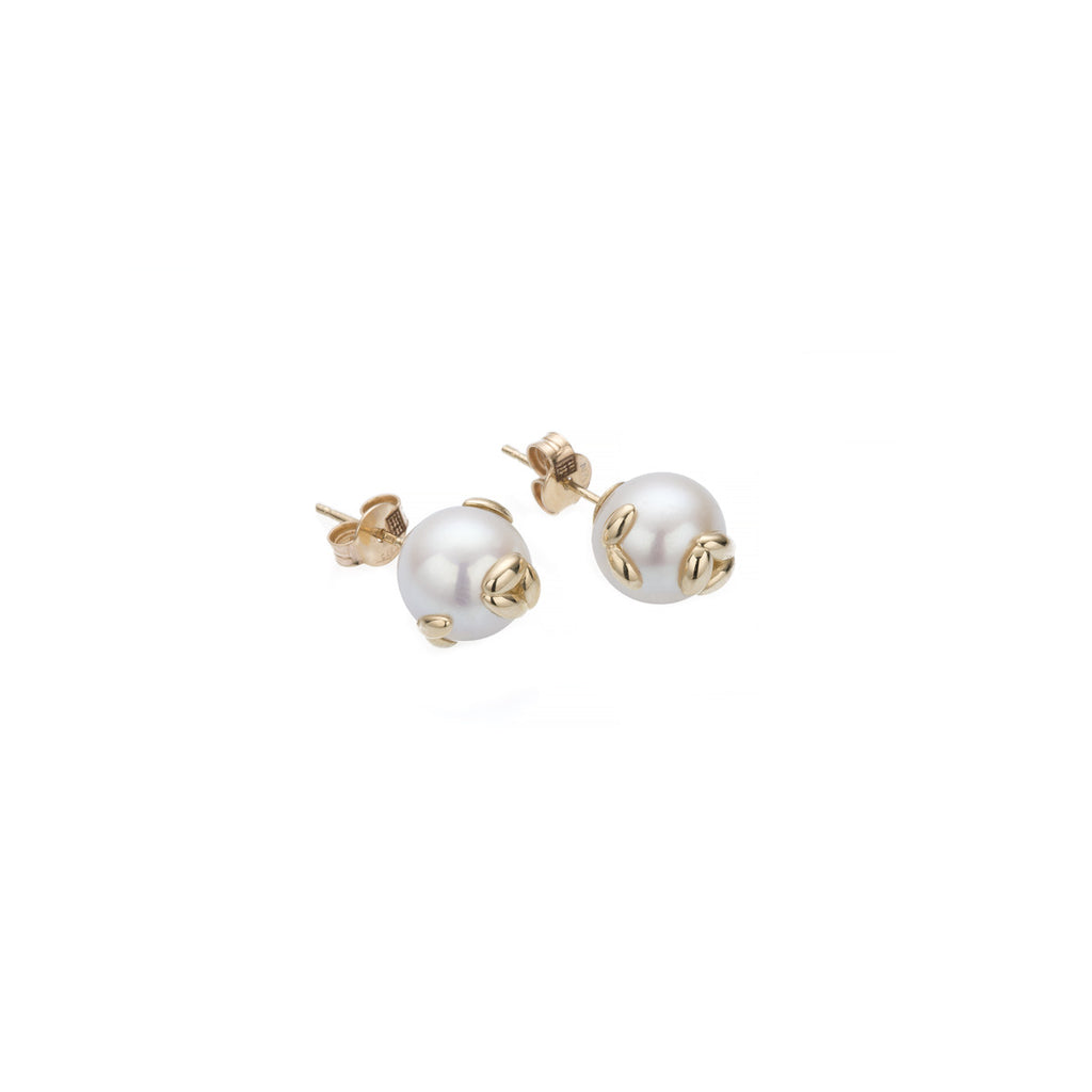 Gold Pearl Rice Stud Earrings