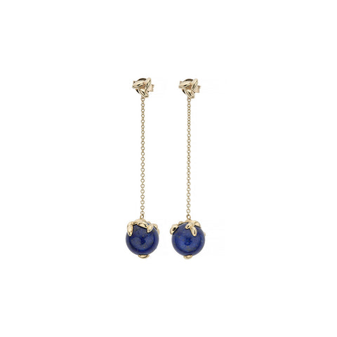 Gold Lapis Rice Chain Earrings