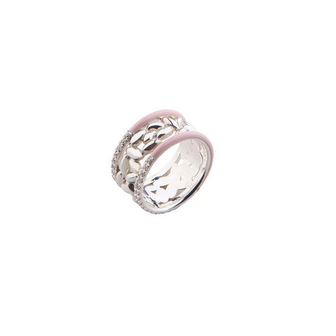 Zirconia Silver Ring with Enamel