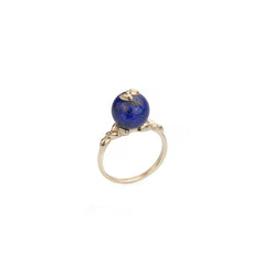 Gold Lapis Rice Ring