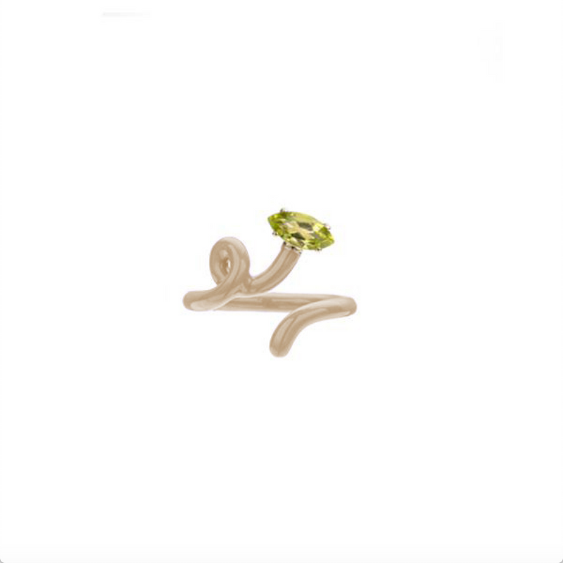 Baby Vine Tendril Ring in Latte Enamel