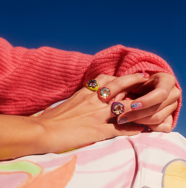 Floral Disco Signet Ring