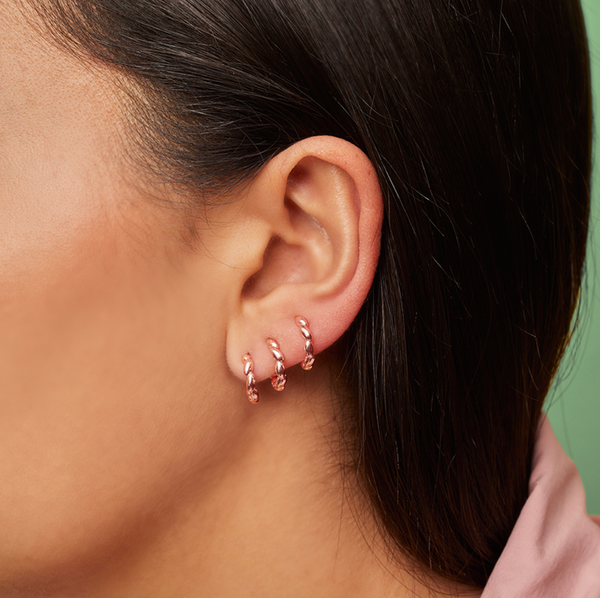 Silver Rose Gold Plated Multi Spiral Single Earring