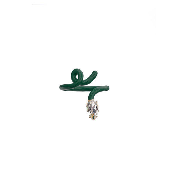 Baby Vine Tendril Ring in Emerald Green Enamel