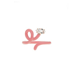 Baby Vine Tendril Ring in Coral Pink Enamel