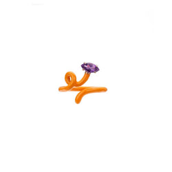 Baby Vine Tendril Ring in Orange Enamel