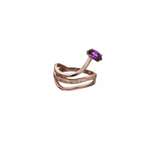 Gloriosa Rose Gold  Lily Ring with Diamonds