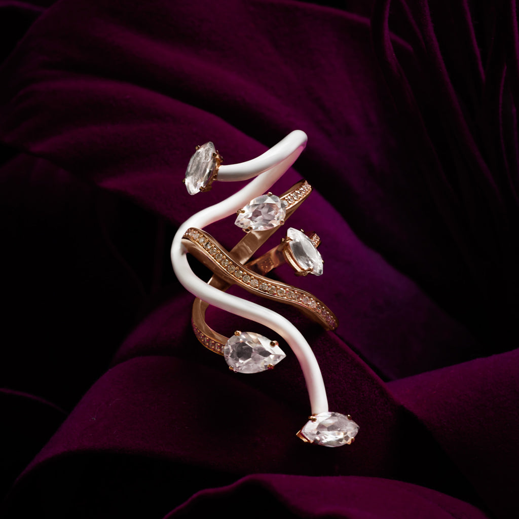 Vine Wrapped Cocktail Ring with Diamonds