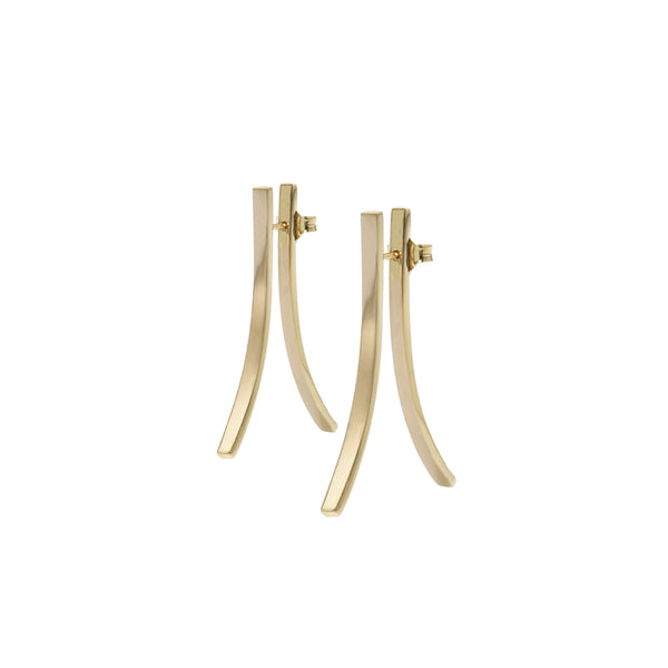 EIGHT DOUBLE YELLOW GOLD EARRINGS