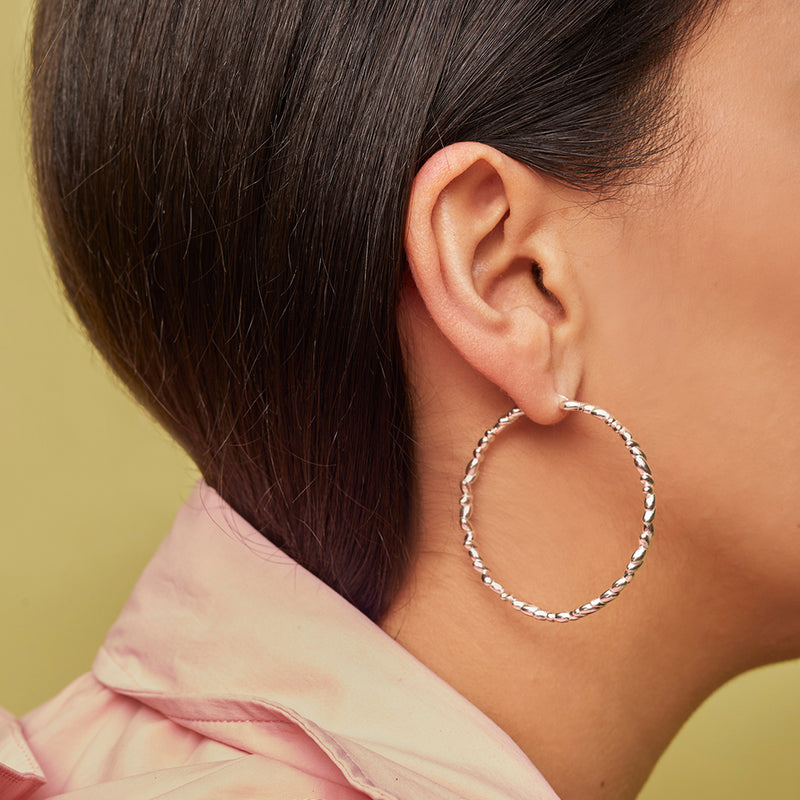 Large Rice Hoop Earrings