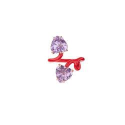 Double Heart Vine Tendril Ring in Red