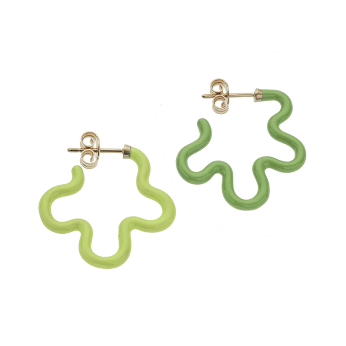 2 Tone Asymmetrical Flower Power Earrings