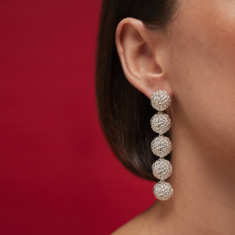 Silver Long Rice Balls Earrings