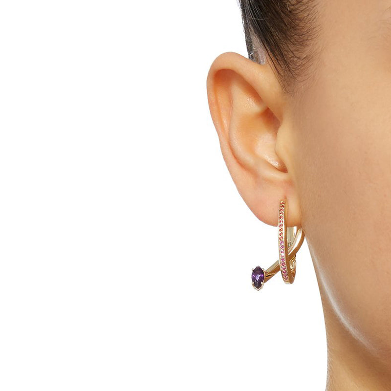 Yellow Gold Tiger Lily Earrings with Amethyst